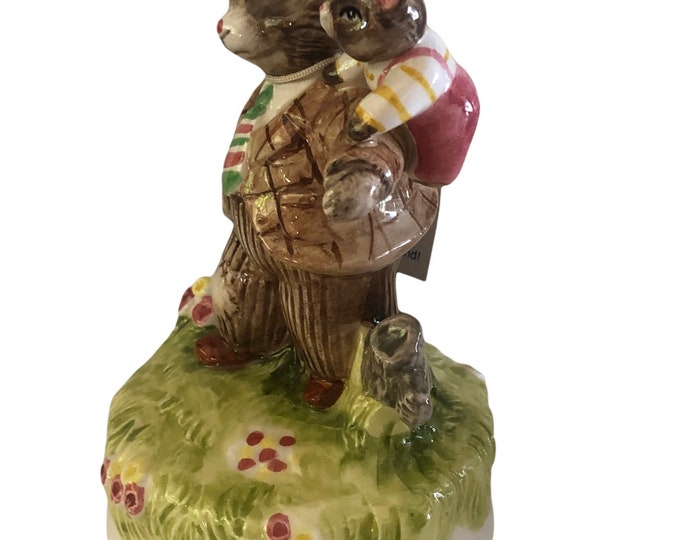 Vintage Schmid Beatrix Potter Mouse Characters Rotating Music Box | Oh My Papa Tune