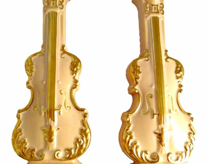 Hand Painted Wall Pockets Vases by Goldra - Violins Violas Mid Century