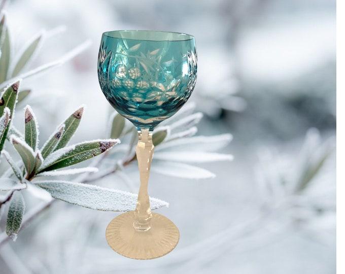 Blue Wine Glass | Ajka Crystal Wine Goblet l Hungarian Crystal Wine Goblet