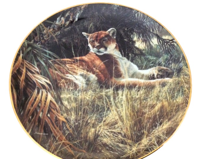 Collector Plates | Wall Plates | Wall Decor Plate | Mountain Lion Plate | Wall Art Wildlife Plate