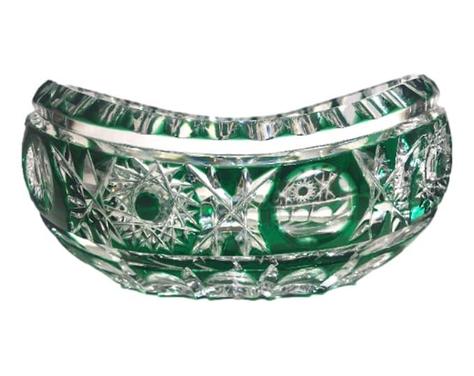 Bohemian Czech Art Glass Emerald Green Cut To Clear Canoe Shaped Bowl