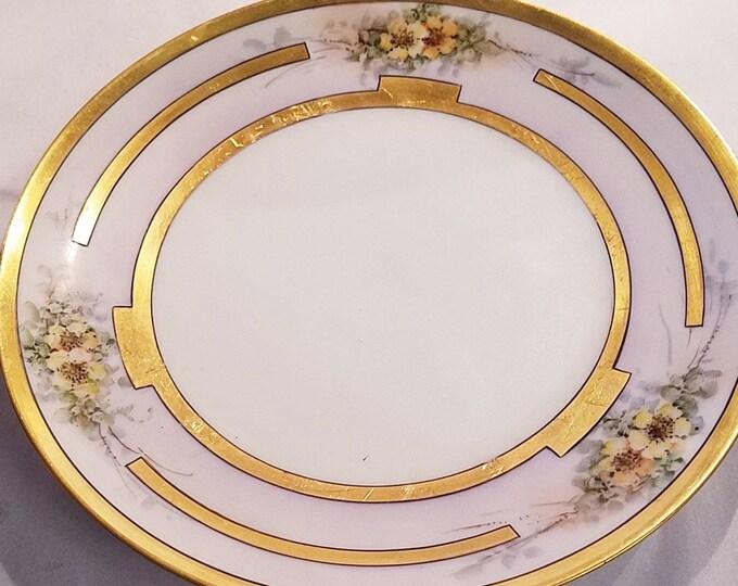 Antique Bavarian China Plate Gold Trim Tirschenreuth