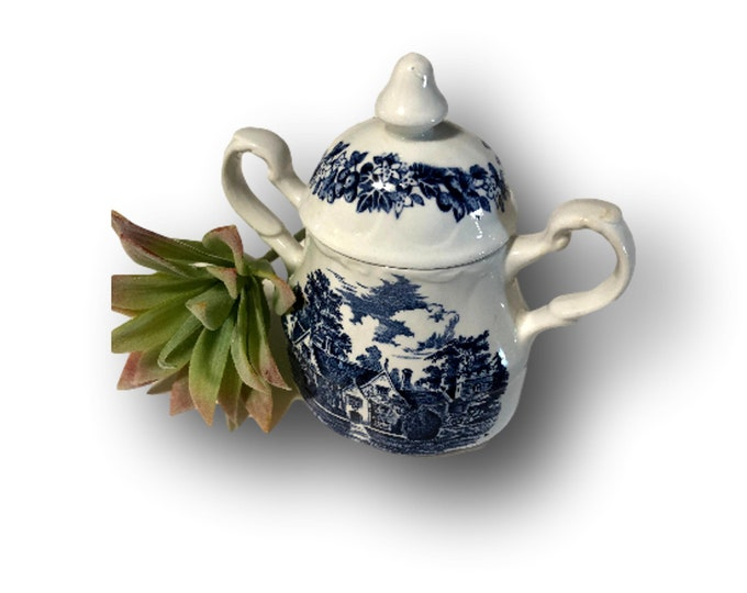 J&G Meakin Romantic England | Sugar Bowl | Blue White Stoneware | Sanford Orcas