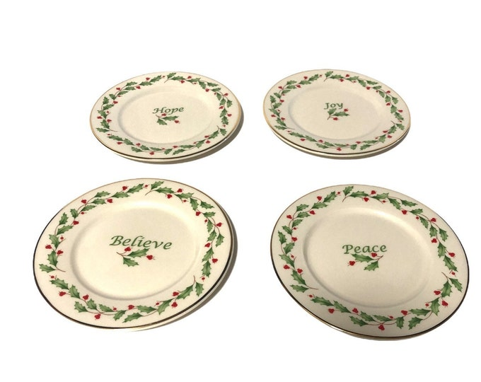 Lenox Christmas China | Holiday Dimension Accent Plates | Bread Butter Plates