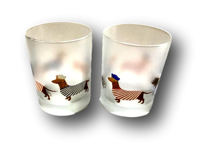 2 Culver Ltd Christmas Glasses, Frosted Lowball Glasses, Dachshund Dog Tumblers, Novelty Bar Glasses