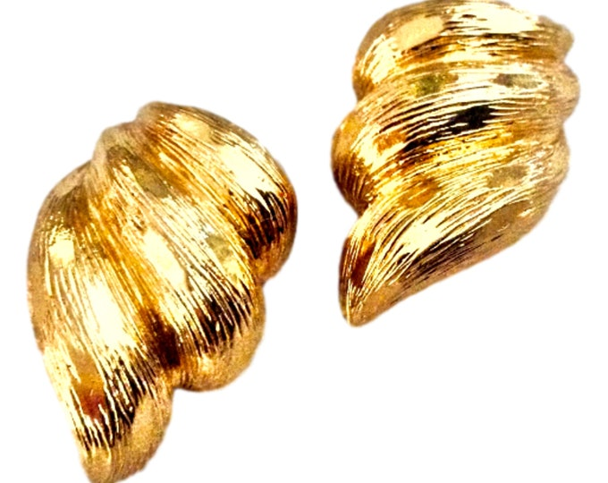 Gift For Women Vintage Clip On Statement Goldtone Earrings By St. John