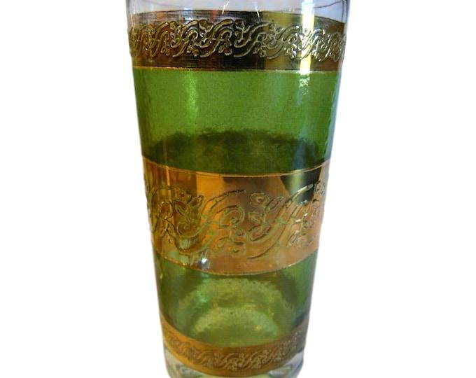 Culver Highball Glass Starlyte Green Gold