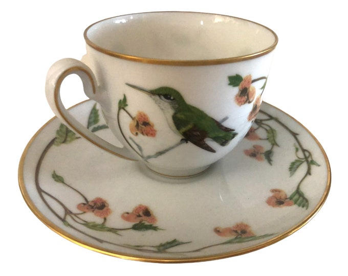 Gifts Under 50 | Bavarian Tea Cup and Saucer  | Teacup and Saucer Set | Set of 2 Hummingbird Cups and Saucers