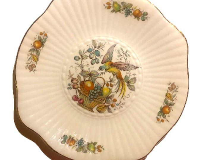 Vintage 1970's Irish Plate | Royal Tara Cake Plate | Bird and Fruit Basket Plate |  Fine Bone China Plate