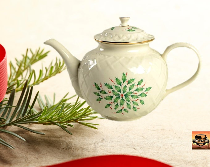 Lenox Vintage | Lenox Carved Teapot | Christmas Holiday Dimension Teapot