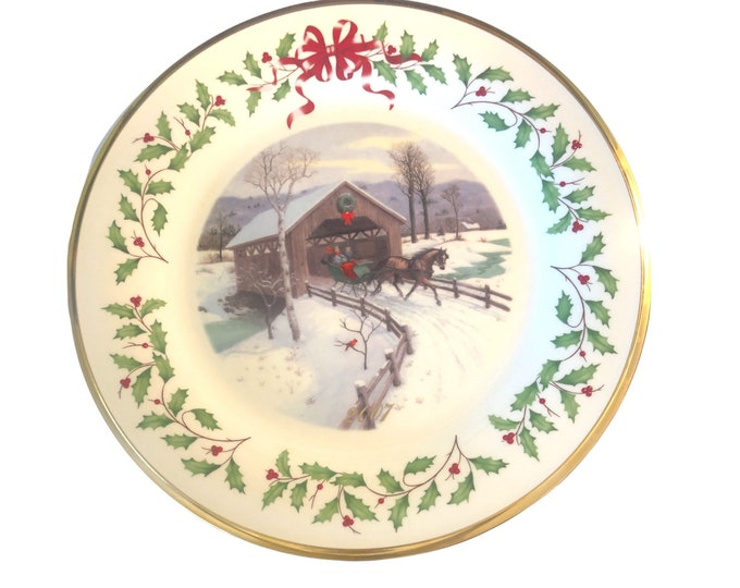 Lenox China Wall Plate | Holiday Annual Christmas Collectible Plate | Covered Bridge | Sleigh Ride