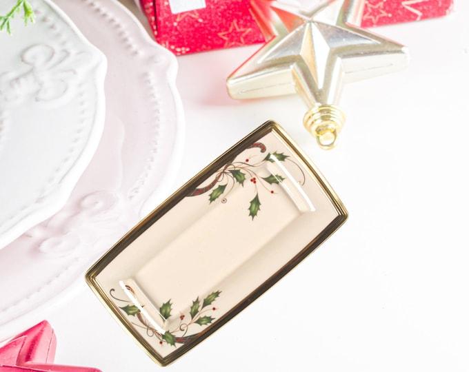 Rare Large Lenox Rectangular Accent Tray |  Lenox Holiday Nouveau Gold Tray | Lenox Christmas China Tray