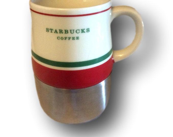 Starbucks Ceramic Stainless Travel Mug Christmas Red Green White