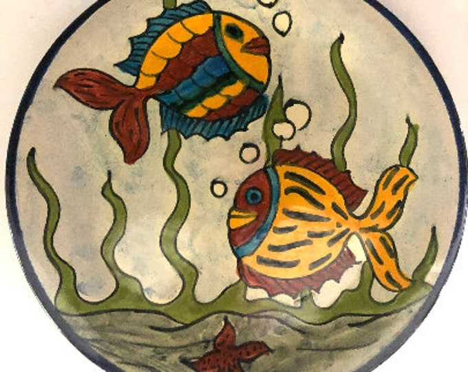 Mexican Pottery | Talavera Pottery Plate | Mexican Folk Art Pottery | Fish Plate | Primative Pottery
