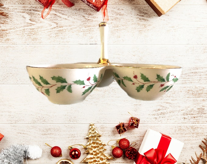Lenox China Dimensions 3 Part Condiment Server For Christmas Holidays