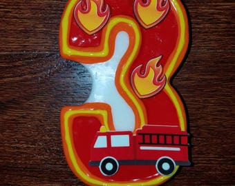 Firetruck birthday candle, Fireman birthday candle, Fire truck birthday