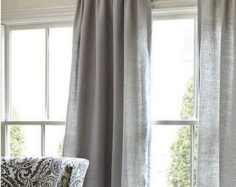 20% Off,Gray Cotton Curtains, Bedroom Curtains, Livingroom Curtains