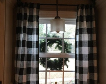 Buffalo check curtains! Two panels included. Black and white check curains.
