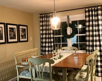 Sale! Two Panels,Buffalo check curtains,Black and whiteTwo panels included,Living room curtains kitchen curtains ,bathroom curtains