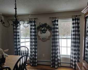 Buffalo Check Curtains,black And White Checked Curtains, Kitchen Curtains  ,bathroom Curtains