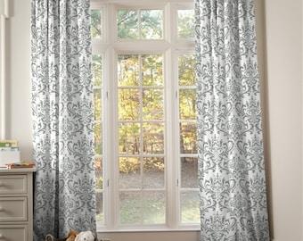 Gray curtains | Etsy
