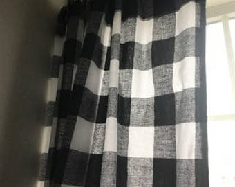 20 Offbuffalo Black And White Checked Curtains Kitchen Bathroom