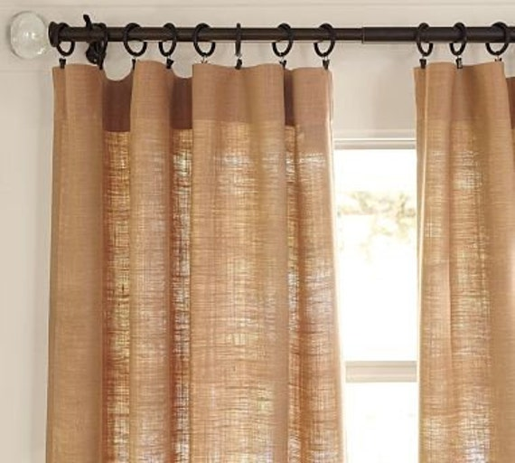 Burlap curtain panel,40 in wide, Chic Window Treatments, Curtains, living  room decor, bedroom curtains, burlap, Sale
