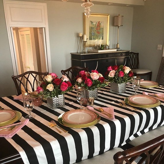 Swell Black And White Stripe Tablecloth Weddings Graduations Receptions Birthdays Home Interior And Landscaping Synyenasavecom