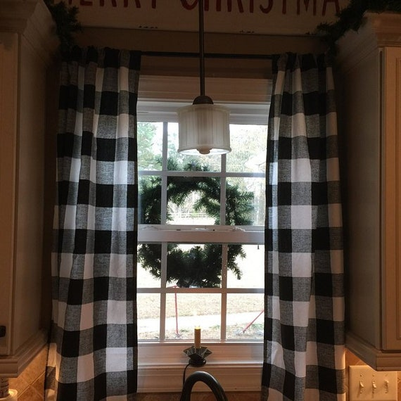 Buffalo Check Curtains Big Sale Two Panels Includedblack Etsy