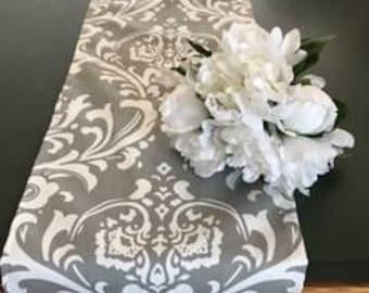 Gray   table runner, damask table runner, weddings