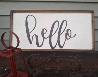 Large 12x24 hello hand painted wood sign. Shabby chic, rustic home decor.