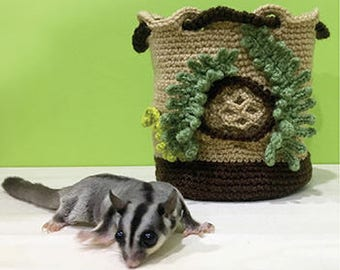 Crochet Pattern Small Animal Pouch Sugar Glider Carrier Tree Hole Pet Cage Crochet Pattern Sugar Glider Crochet Nest for Sugar Glider Home