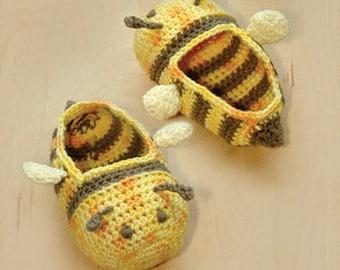 Bumble Bee Baby Booties Preemie Socks Animal Shoes Slippers Crochet Pattern (BB01-Y-PAT)