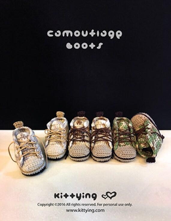 Ganchillo patrón botines bebé camuflaje bebé botas bebé zapatillas ...