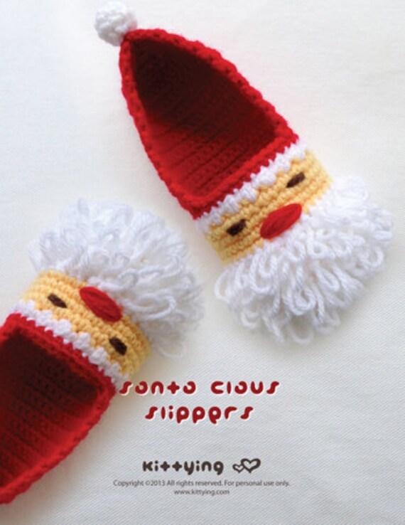 Santa costume Crochet pattern Santa Claus children slippers. | Etsy