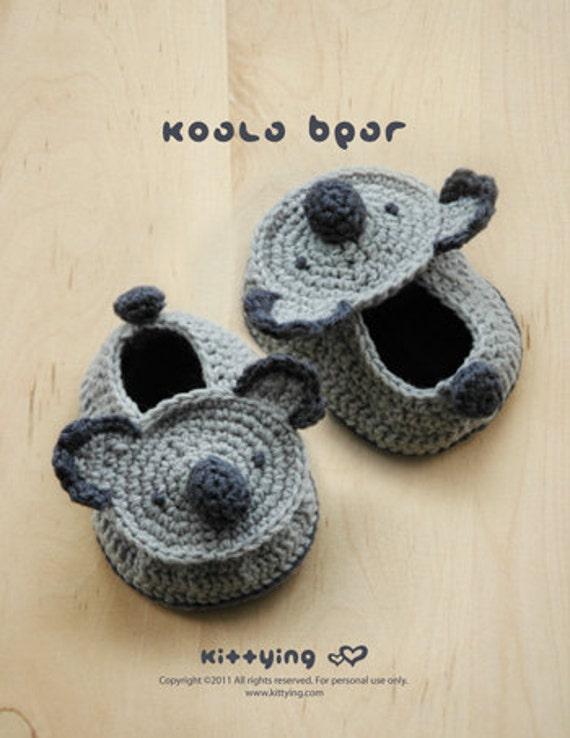 Koala-Bär Baby Booties Häkelmuster Instant PDF herunterladen