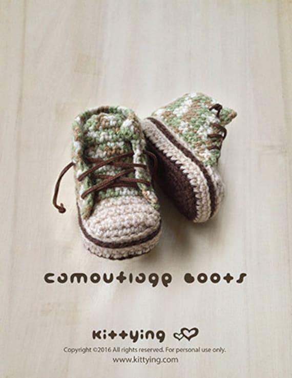 Ganchillo patrón botines bebé camuflaje bebé botas bebé | Etsy