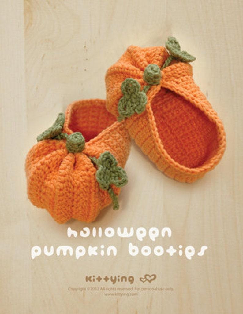 4f8988da2 CROCHET PATTERN - Halloween Pumpkins Baby Booties, Newborn Socks, Halloween  Toddler Shoes, Baby Slippers, Halloween Pumpkins Costume