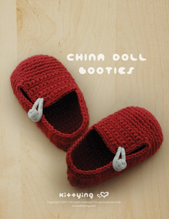 Häkelmuster China Doll Baby Booties Häkelanleitung Chart &
