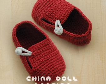 Crochet Pattern China Doll Baby Booties Newborn Loafers Preemie Socks Red China Doll Shoes Chinese Knot Baby Slippers Crochet Patterns Shoes