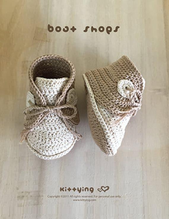 Patrón de crochet zapatos del barco del bebé del ganchillo del | Etsy