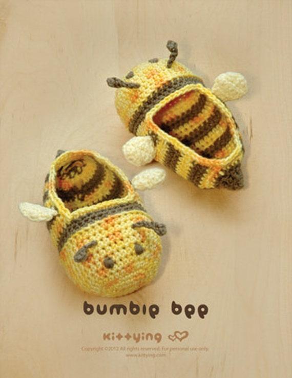 Crochet Baby Booties Bumble Bee Booties Crochet Patterns Etsy