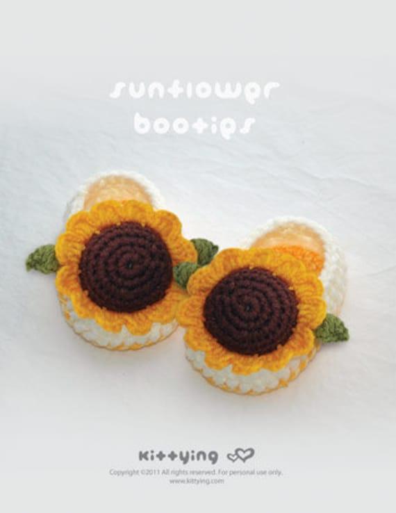 Zapatos del modelo del ganchillo girasol bebé botines | Etsy