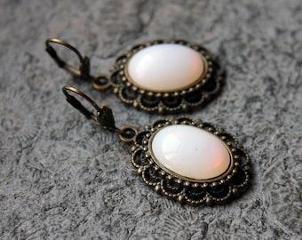 Handmade Making Jewelry. DIY Making Earring Jewelry Tanzanite Earring Connectors 1484 Single Bail Connect White Opalite Earring Pairs