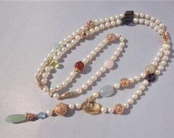 unique pearl necklaces, long pearl necklaces, semiprecious necklace, freshwater pearl necklace, gold pearl necklace, pearl choker necklace