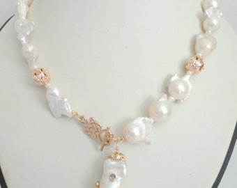 freshwater baroque pearl necklace, toggle pearl necklace, gold pearl necklace, baroque pearl drop, Bridal Pearl Jewelry, pearl statement