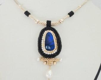 opal necklace gold fill 14k, fine jewelry, opal necklace natural, australian opal pendant, Opal doublet pendant ,  beaded Opal necklace,
