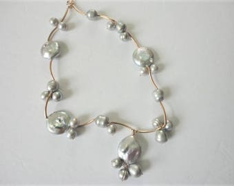 gold filled gray pearl beaded necklace unique elegant gift for mom pearls jewelry