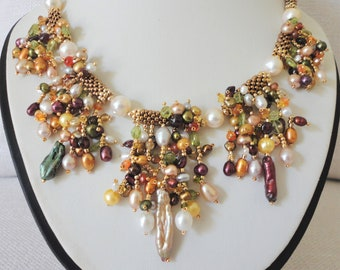 multi pearl necklace gemstone, genuine pearl necklace, statement pearl necklace. seed bead necklace ,colorful pearl necklace