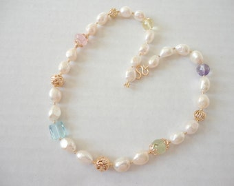 Multi color Gemstone White baroque Freshwater Pearl Gold Beaded necklace, june birthday gift, summer jewelry for woman